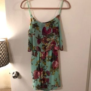 Tobi Turquoise and Pink Floral Back Cutout Dress